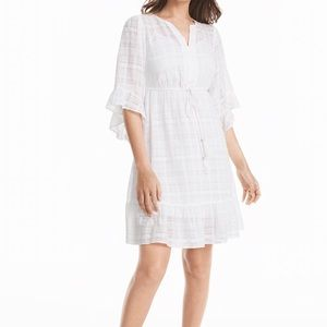 NWT WHBM RUFFLE SLEEVE WHITE COTTON TIEWAIST DRESS